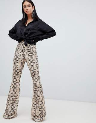 Missguided flare pants in snake print