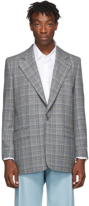 Givenchy Grey and Blue Check Jacket