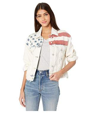 Blank NYC Light Wash Denim Jacket with Flag Detail in Unmet Expectation