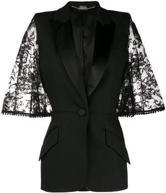 Alexander McQueen lace bell sleeve tuxedo jacket