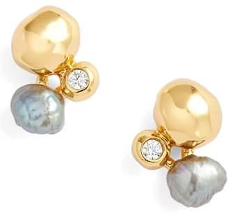 Gorjana (ゴリアナ) - gorjana Vienna Shimmer Freshwater Pearl & Cubic Zirconia Studs