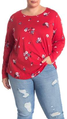 Joe Fresh Floral Print Crew Neck Tee (Plus Size)