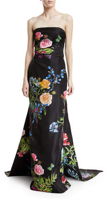 Monique Lhuillier Strapless Floral-Print Draped Evening Gown with Train
