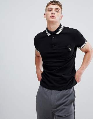 Class Roberto Cavalli polo shirt in black with striped collar
