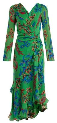 Etro Floral Print V Neck Silk Dress - Womens - Green Print