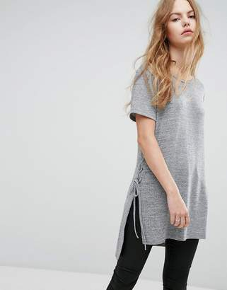 New Look Eyelet Side Detail Knit Top