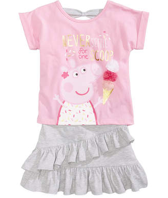 Peppa Pig Nickelodeon's® 2-Pc. Bow-Back T-Shirt & Ruffled Skirt Set, Little Girls
