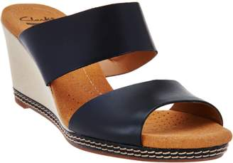 Clarks Leather Double Band Slide Wedge Sandals - Helio Lily