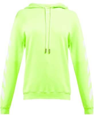 Off-White Off White Diagonal Logo Hooded Cotton Sweatshirt - Womens - Yellow