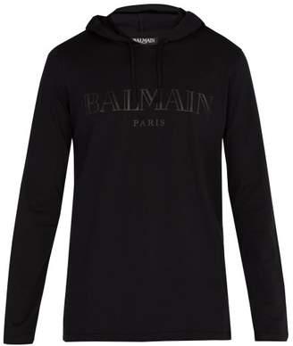 Balmain Logo Print Hooded Sweatshirt - Mens - Black