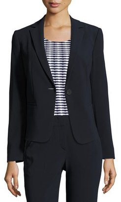 Armani Collezioni Stretch-Wool One-Button Jacket, Midnight $1,195 thestylecure.com