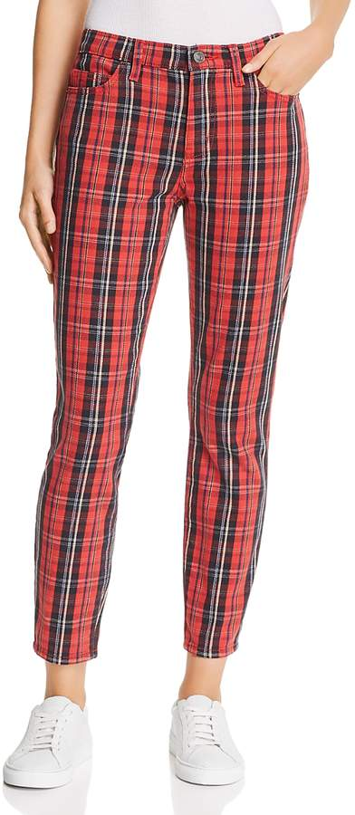 The Stiletto High-Rise Skinny Jeans in Red Tartan Plaid