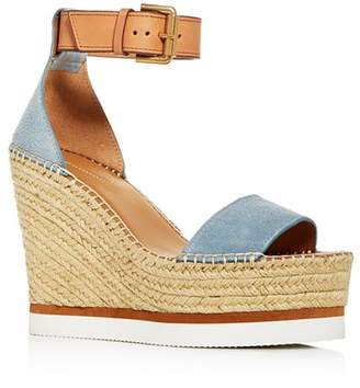 8acd49f0728b See by Chloe Glyn Leather Espadrille Platform Wedge Ankle Strap Sandals