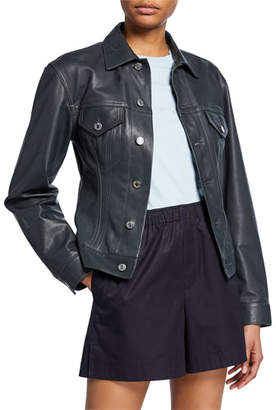 Helmut Lang Femme Trucker Lambskin Leather Jacket
