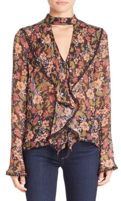 NICHOLAS Floral Frill Cut-Out Top $350 thestylecure.com
