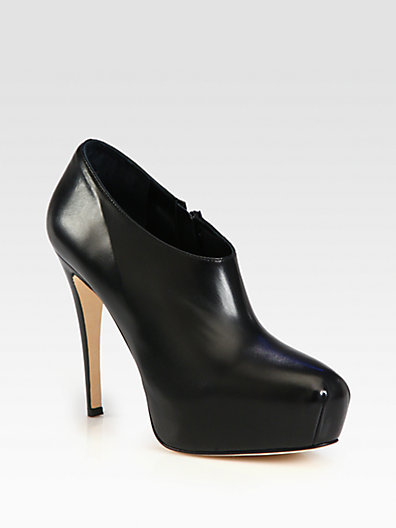 Brian Atwood Leather Platform Ankle Boots
