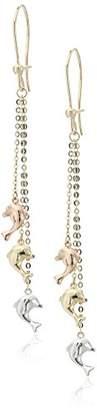 14k Dangling Dolphins Dangle Earrings