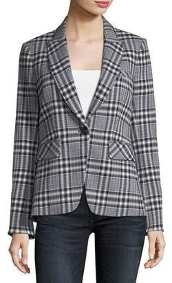 Veronica Beard Ada One-Button Plaid Jacket