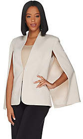 Halston H by Stretch Suiting Cape Blazer withFront Closure