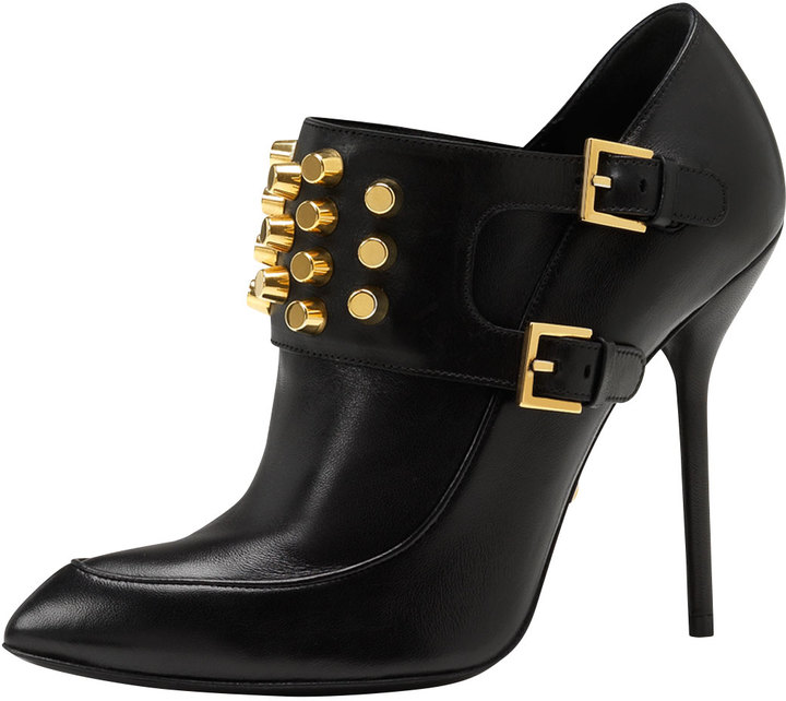 Gucci Studded High-Heel Ankle Bootie, Black