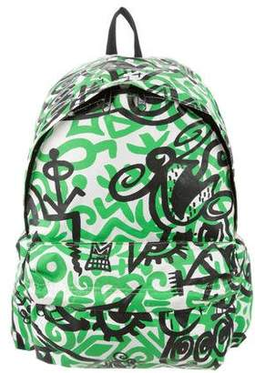 Jeremy Scott Leather-Trimmed Printed Backpack
