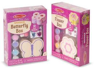 Melissa & Doug Decorate Your Own Wooden Trinket Box 2 Pack Flower, Butterfly Toy