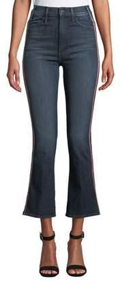 Mother Hustler High-Rise Flare-Leg Jeans with Glitter Stripes