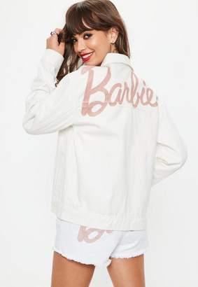 Missguided Barbie x White Matte Logo Denim Jacket, White