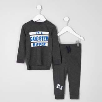 River Island Mini boys grey 'gangster napper' pajama set