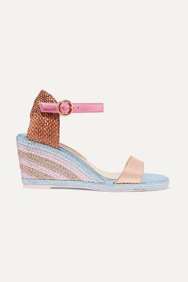 Sophia Webster Lucita Metallic Satin Espadrille Wedge Sandals