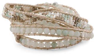 Handmade In Thailand Agate Stone Leather Wrap Bracelet