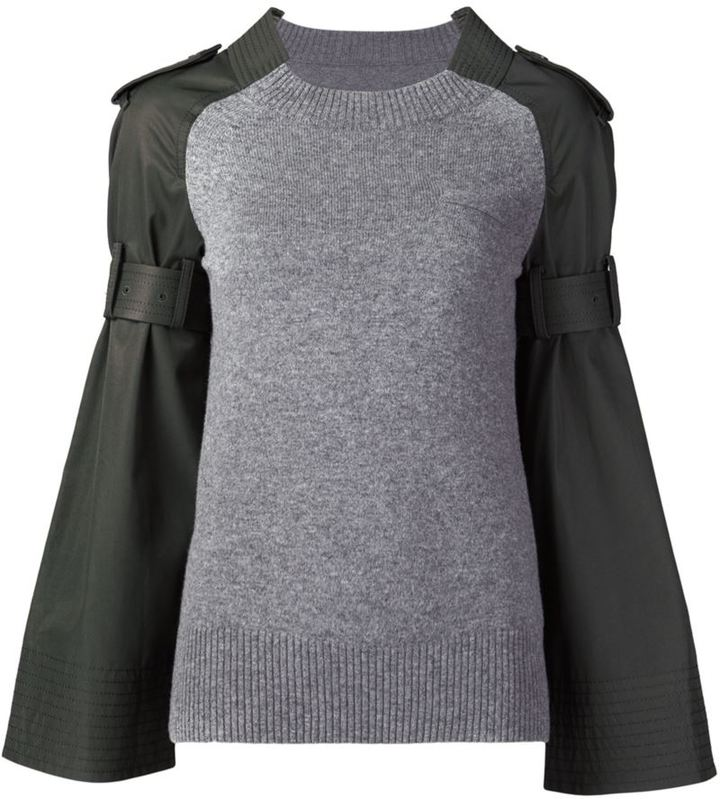 Sacai contrast sleeve top