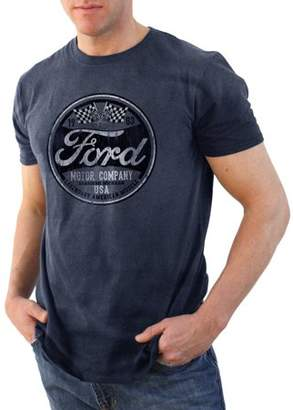 Automotive Ford Racing Flags Retro Men's Graphic T-Shirt