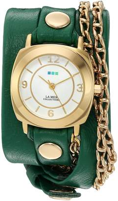 La Mer Women's 'Portland Chain' Quartz Gold-Tone and Leather Automatic Watch, Color:Green (Model: LMMULTI2016314)