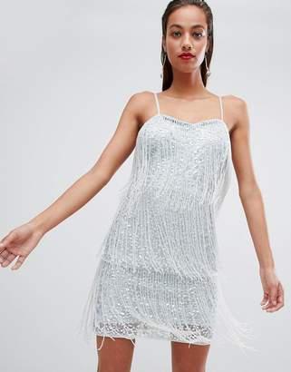 Asos Design DESIGN Sequin Fringe Mini Dress