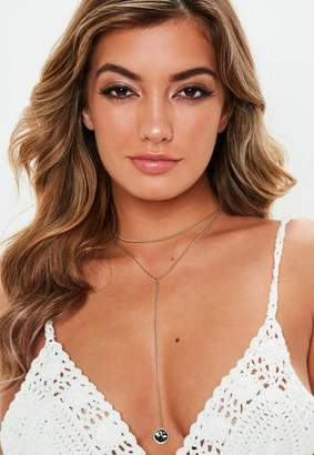 Missguided Gold Look Choker Charm Drop