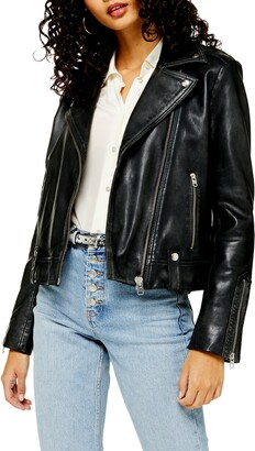 Topshop Mona Leather Biker Jacket