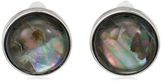 Kenneth Cole New York Womens Silver and Black Pearl Clip-On Earrings