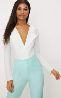 PrettyLittleThing White Crepe Tux Blazer Thong Bodysuit