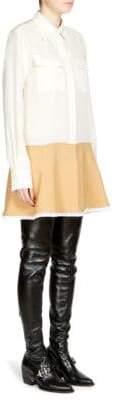 Chloé Long-Sleeve Two-Tone Dress