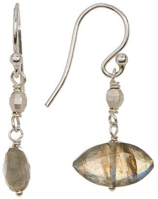 Chan Luu Sterling Silver Faceted Marquise Labradorite Bead Drop Earrings
