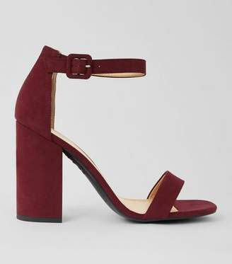 New Look Burgundy Suedette Barely There Block Heels