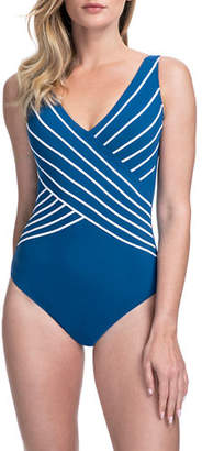 Gottex Embrace Striped Surplice One-Piece Swimsuit