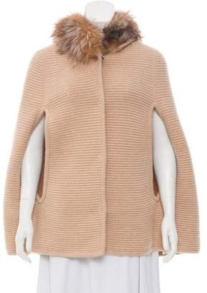 Annabelle Fur-Trimmed Wool Poncho Brown Annabelle Fur-Trimmed Wool Poncho