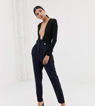 Asos Tall DESIGN Tall tapered pants with pleat and military buttons