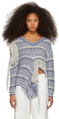 Stella McCartney Blue and White Asymmetric Sweater