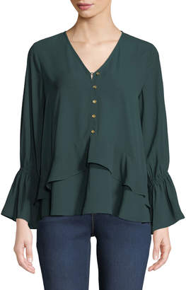 MICHAEL Michael Kors Layered Ruffle Bell-Sleeve Peasant Blouse