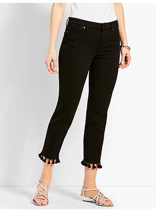 Talbots Tassel Hem Denim Straight Crop - Black