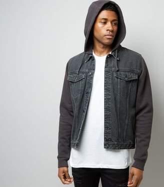 Mens Hooded Denim Jersey Jacket Shopstyle Uk