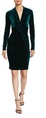 Elie Tahari Cynthia Twist-Front Long-Sleeve Velvet Dress